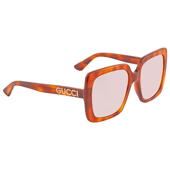 구찌 Gucci Light Brown Square Sunglasses GG0418S 005 54