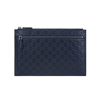 구찌 GG 시그니처 블루 파우치 Gucci Mens GG Signature Blue Leather Zip Pouch
