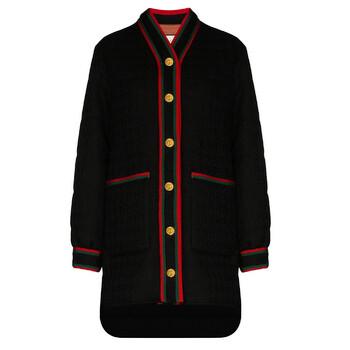 Gucci Web Stripe Tweed Coat, Brand Size 44