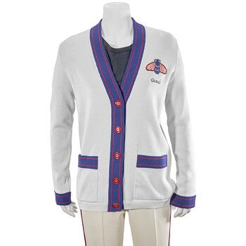 Gucci White Cashmere Bee Cardigan, Brand Size Medium