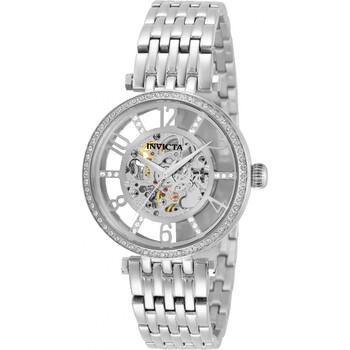 인빅타 시계 Invicta Objet D Art Automatic Crystal Silver-tone Dial Ladies Watch 32294