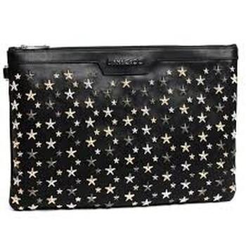 지미 추 Jimmy Choo Mens Leather Clutch bag Biker Black/Silver Derek Stars