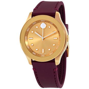 모바도 시계 Movado Trend Gold Metallic Dial Red Silicone Ladies Watch 3600717