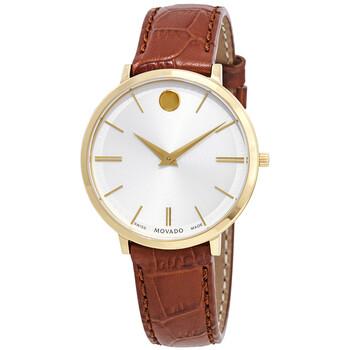 모바도 시계 Movado Ultra Slim White Dial Ladies Watch 0607176