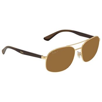 레이밴 스퀘어 선글라스  Ray Ban Brown Classic B-15 Polarized Square Mens Sunglasses RB3593 001/83 58