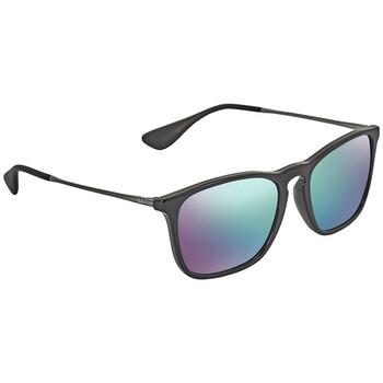 레이밴 스퀘어 선글라스  Ray Ban Chris Green Mirror Blue Square Mens Sunglasses RB4187F 601/55 54-18