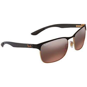 레이밴 스퀘어 선글라스 Ray Ban Polarized Pink Gradient Mirror Chromance Square Sunglasses RB8319CH 9076K9 60