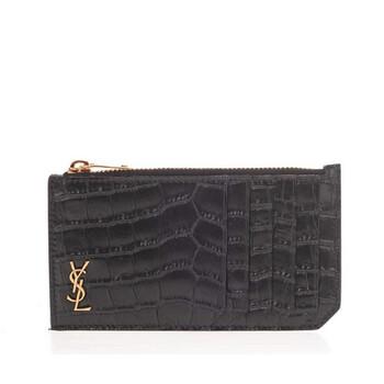 생 로랑 Saint Laurent Crocodile-Embossed Matte Leather Tiny Monogram Card Case