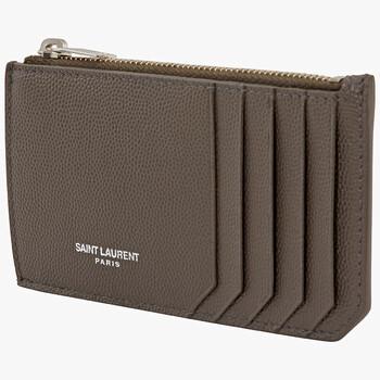 생 로랑 Saint Laurent Mens Grain De Poudre Leather Card Case In Brown