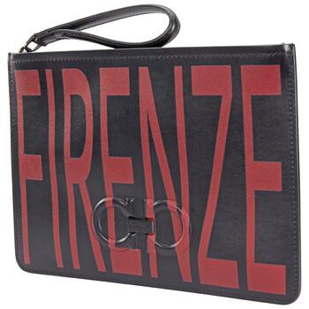 페라가모 Salvatore Ferragamo Black/Red Logo Leather Clutch
