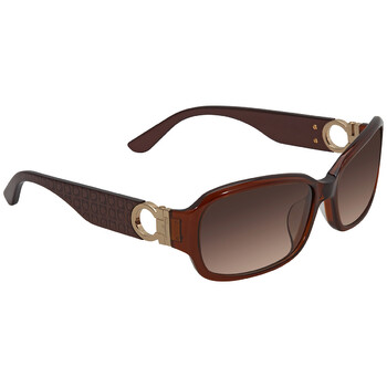 Deals on Salvatore Ferragamo Brown Rectangular Ladies Sunglasses