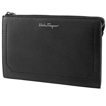페라가모 Salvatore Ferragamo Firenze Gusseted Clutch Bag In Black