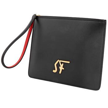 페라가모 Salvatore Ferragamo Mens Firenze Logo Clutch In Black