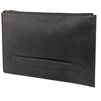 페라가모 Salvatore Ferragamo Mens Signature Leather Document Holder In Black