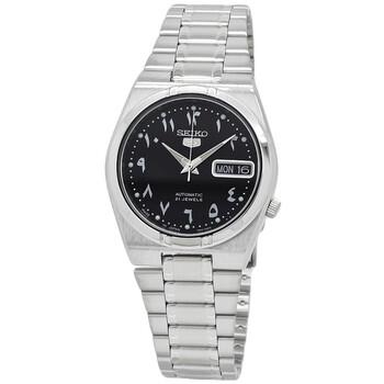세이코 시계 Seiko 5 Automatic Black Dial Stainless Steel Mens Watch SNK063J5