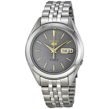 세이코 오토메틱 시계 Seiko 5 Automatic Grey Dial Stainless Steel Mens Watch SNKL19