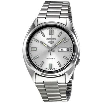 세이코 시계 Seiko 5 Automatic Silver Dial Stainless Steel Mens Watch SNXS73