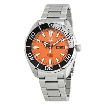세이코 Seiko 5 Sports Automatic Orange Dial Stainless Steel Mens Watch SRPC55