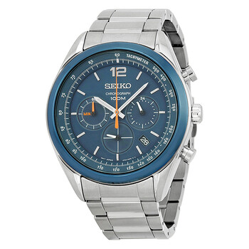세이코 시계 Seiko Chronograph Blue Dial Stainless Steel Mens Watch SSB091