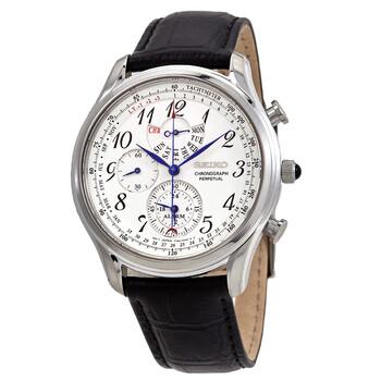세이코 시계 Seiko Chronograph Perpetual Alarm Quartz White Dial Mens Watch SPC253P1