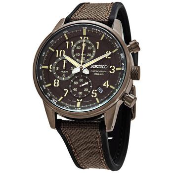 세이코 시계 Seiko Chronograph Quartz Brown Dial Mens Watch SSB371