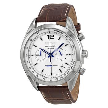 세이코 시계 Seiko Chronograph White Dial Mens Watch SSB095