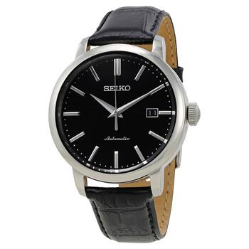 세이코 시계 Seiko Classic Automatic Black Dial Black Leather Mens Watch SRPA27