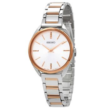 세이코 시계 Seiko Conceptual Quartz Silver Dial Ladies Watch SWR034P1