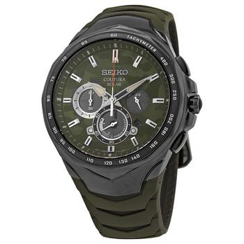 세이코 시계 Seiko Coutura Chronograph Quartz Green Camouflage Dial Mens Watch SSC747