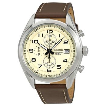 세이코 크로노그래프 남성 시계 Seiko Chronograph Cream Dial Mens Watch SSB273P1