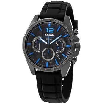 세이코 시계 Seiko Essentials Chronograph Quartz Black Dial Mens Watch SSB353