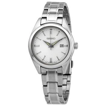 세이코 시계 Seiko Essentials Quartz Silver Dial Ladies Watch SUR633