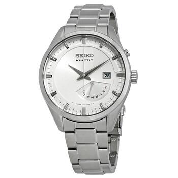 세이코 시계 Seiko Kinetic Automatic White Dial Stainless Steel Mens Watch SRN043