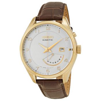 세이코 시계 Seiko Kinetic White Dial Brown Leather Mens Watch SRN052