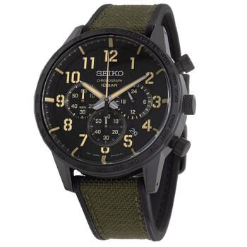 세이코 시계 Seiko Lord Chronograph Quartz Black Dial Mens Watch SSB369P1