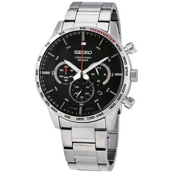 세이코 시계 Seiko Neo Sports Chronograph Quartz Black Dial Mens Watch SSB355