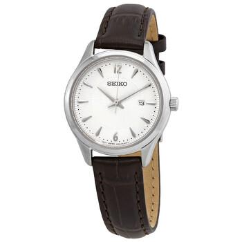 세이코 시계 Seiko Noble Quartz Silver Dial Ladies Watch SUR427