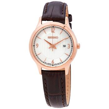 세이코 시계 Seiko Quartz Silver Dial Ladies Watch SXDG98