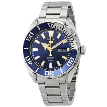 세이코 시계 Seiko Series 5 Automatic Blue Dial Stainless Steel Mens Watch SRPC51