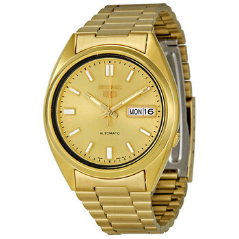 세이코 시계 Seiko Series 5 Automatic Gold Dial Yellow Gold-tone Mens Watch SNXS80