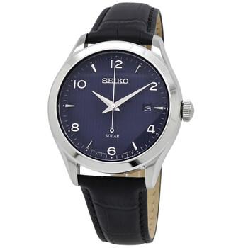 세이코 시계 Seiko Solar Quartz Blue Dial Black Leather Mens Watch SNE491