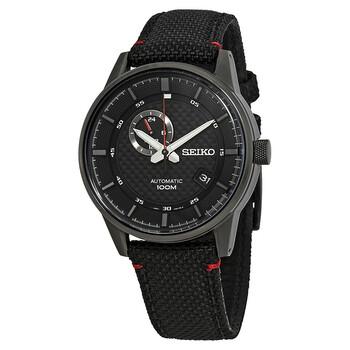 세이코 시계 Seiko Sports Automatic Black Dial Black Nylon Mens Watch SSA383K1