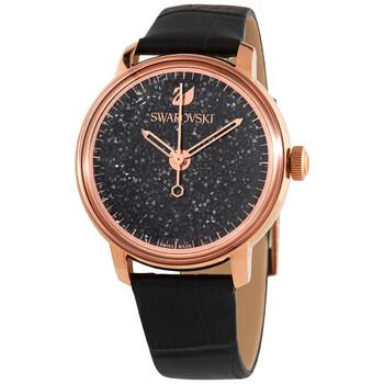 스와로브스키 시계 Swarovski Historical Quartz Black Crystalline Dial Ladies Watch 5295377