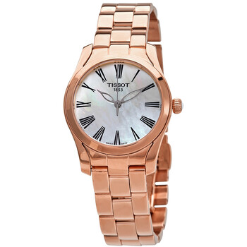티쏘시계 Tissot T-Wave Quartz White Mother of Pearl Dial Ladies Watch T112.210.33.113.00