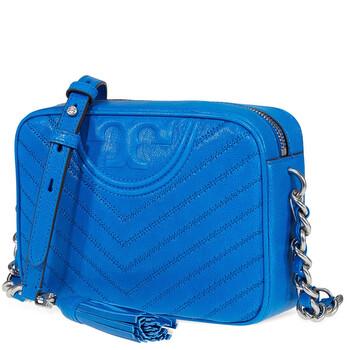 Tory Burch Fleming Chevron Camera Bag- Tropical Blue