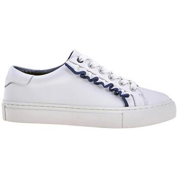 Tory Burch Ladies Sneaker White, Navy Ruffle Sneaker, Brand Size 5