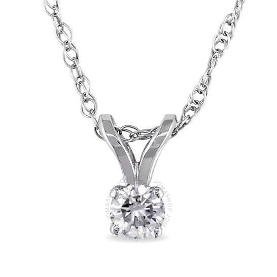 Amour 14K White Gold 1/10 CT TDW Diamond Solitaire Pendant w/Chain | Joma Shop