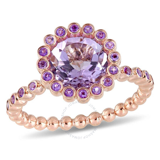 Amour 4 1/10 CT TGW Rose de France and African Amethyst Halo Ring | Joma Shop