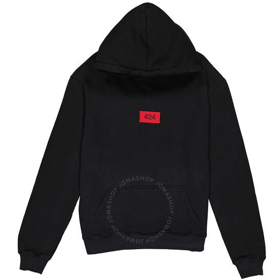 424 Mens Box Logo Cotton Hoodie In Black