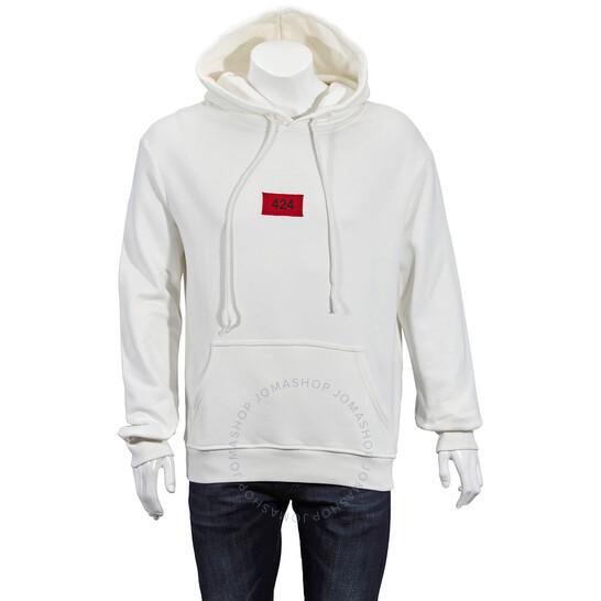 424 Mens Box Logo Cotton Hoodie In White
